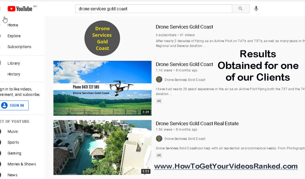 How to Get Videos Ranked - drone services gold coast