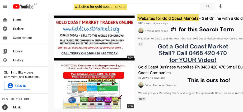 How to Get Videos Ranked - websites for gold coast markets